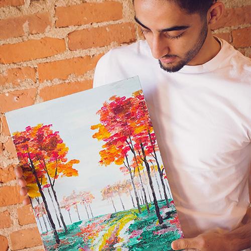 KidzArt Adult painting activity trees